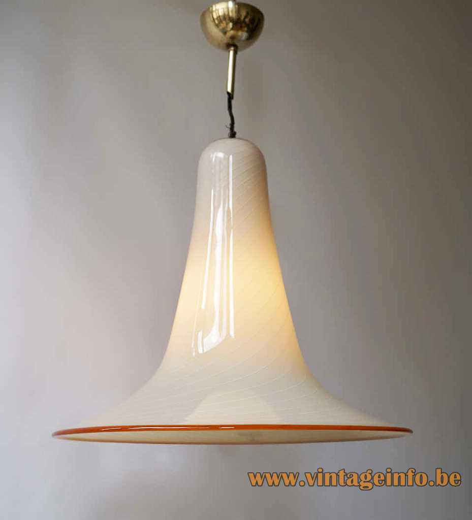Striped hand blown Murano glass pendant lamp in a bell or trumpet form with a red rim E27 socket