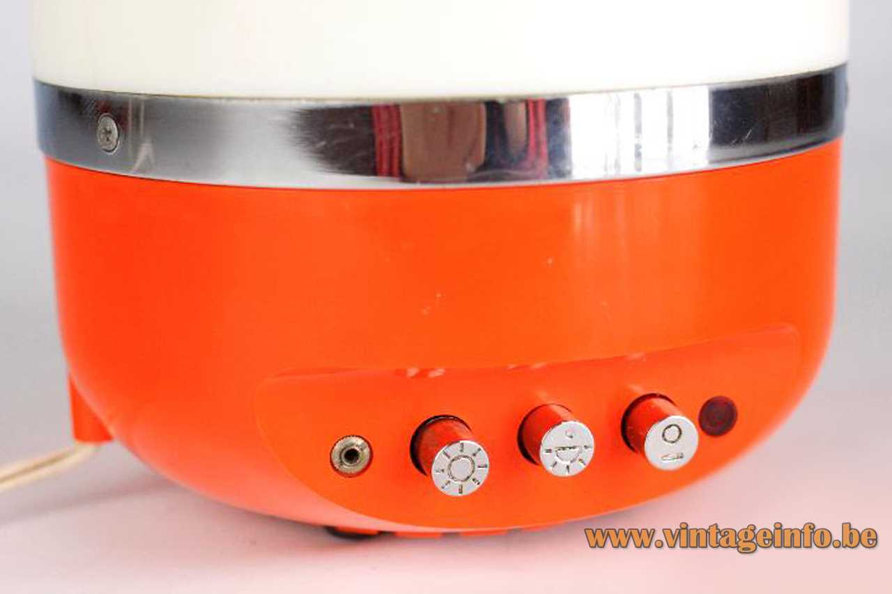Europhon radio table lamp design: Adriano Rampoldi chrome push buttons switches front 1960s 1970s Italy