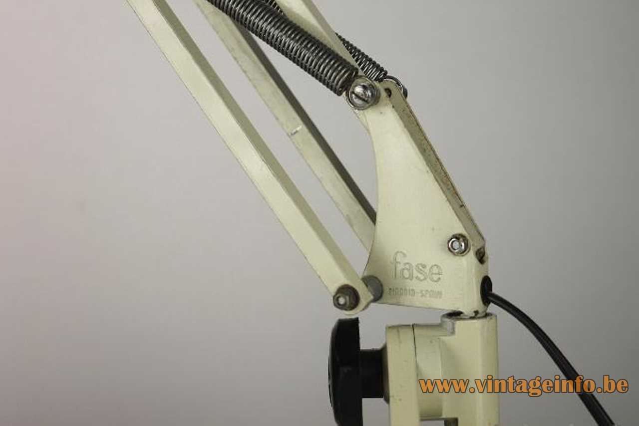 Fase 67 F-1 clamp lamp square white metal rods & lampshade chrome springs 1970s Madrid Spain