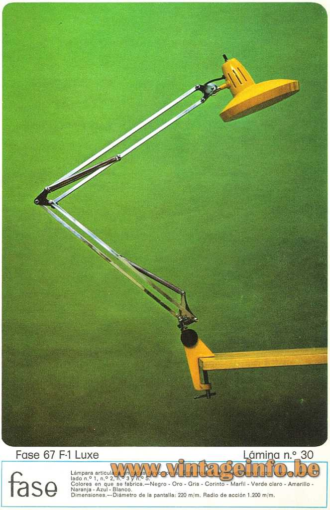 Fase 67 F-1 Luxe Clamp Lamp - 1974 Catalogue Picture