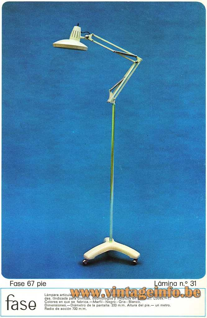Fase 67 Pie Floor Lamp - 1974 Catalogue Picture