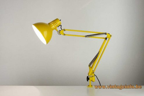 Architect adjustable clamp desk lamp in yellow from the 70's E27 socket 4 springs model 67-F3