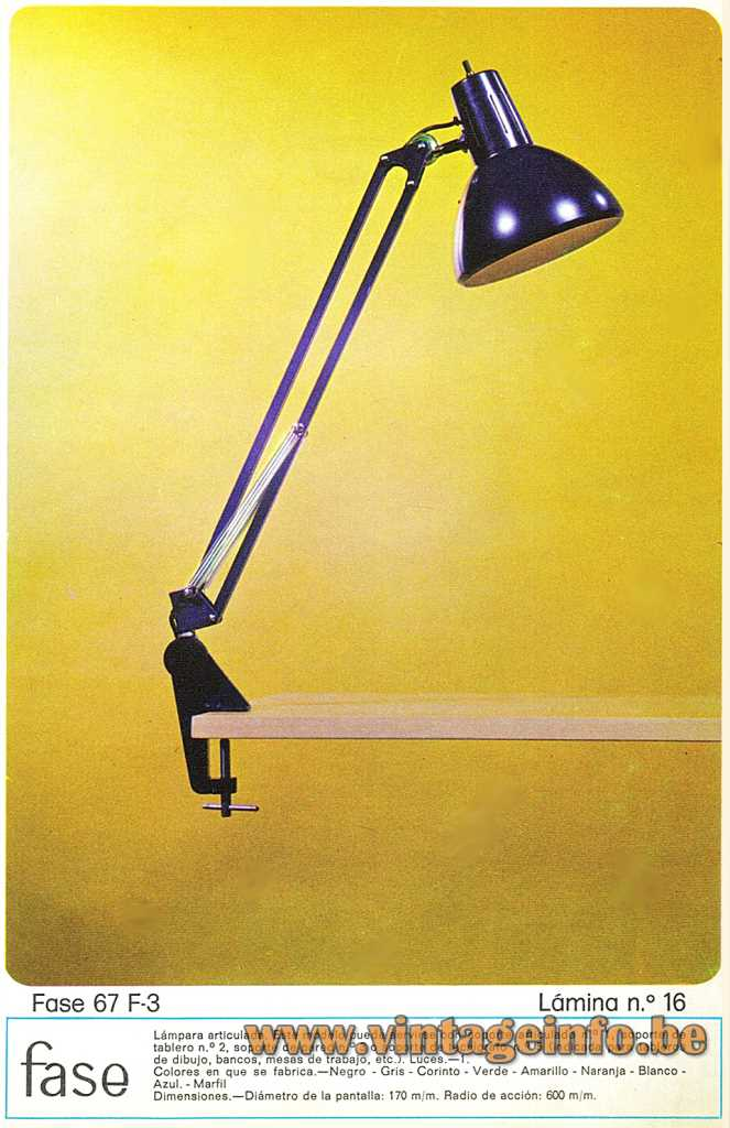 Fase Architect Clamp Lamp, model 67 F-3, 1974 Catalogue, Madrid, Spain