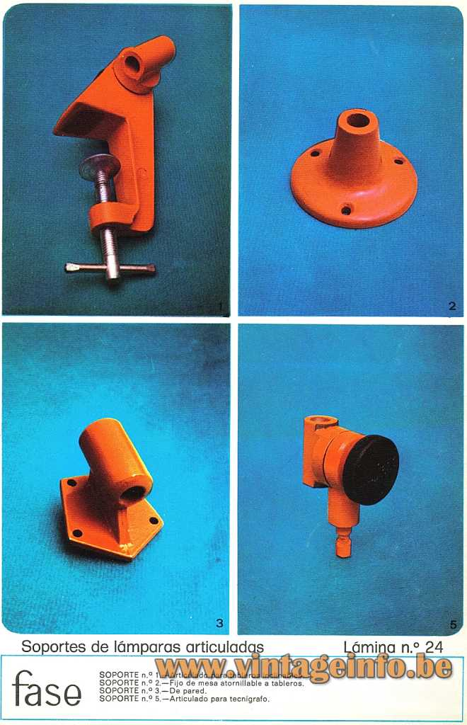 Fase Articulated Lamp Stands - 1974 Catalogue Picture