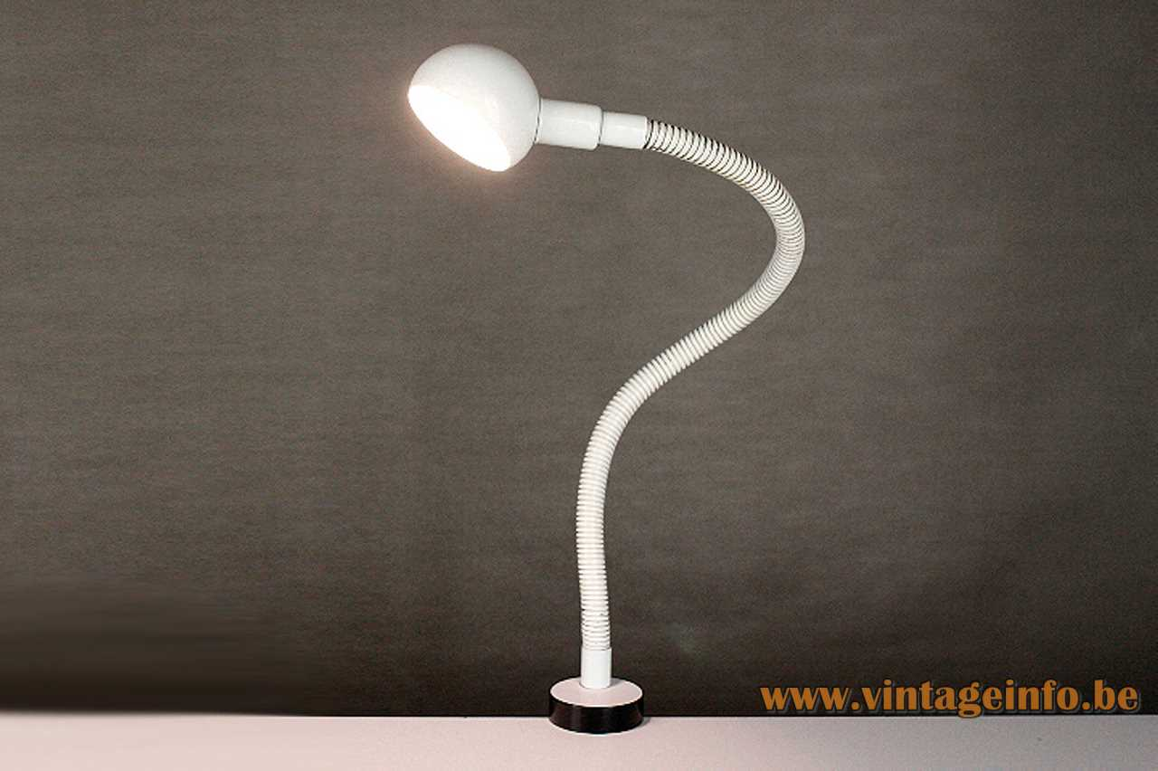 Fase snake clamp lamp flexible white goose-neck half round lampshade black screw E14 socket 1970s Spain