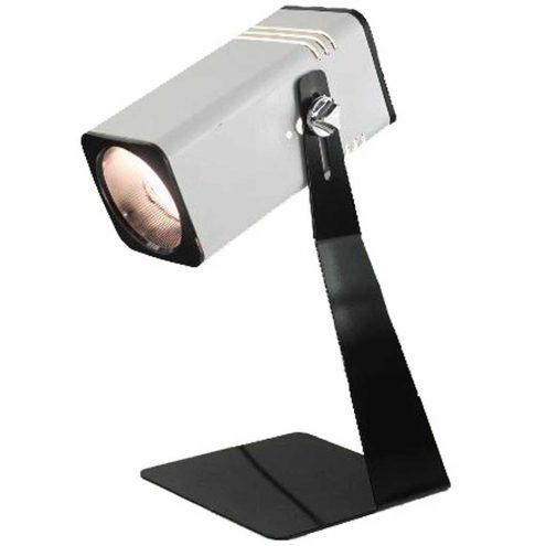 Fase square tube table lamp flat black base white spotlight lampshade 1970s Madrid Spain E27 Socket