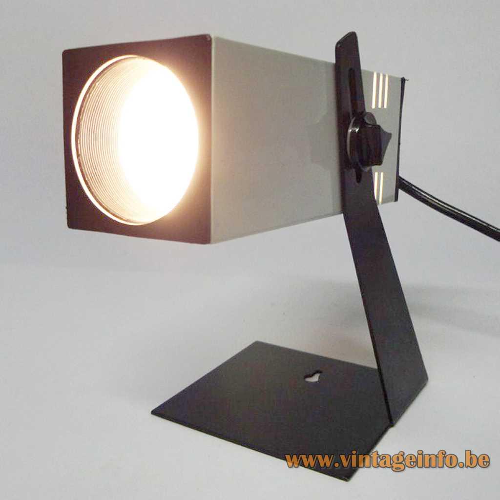 ase table lamp square tube flat black base spotlight Brillant-Leuchten Madrid Spain E27 Socket 1970s MCM Mid-Century Modern