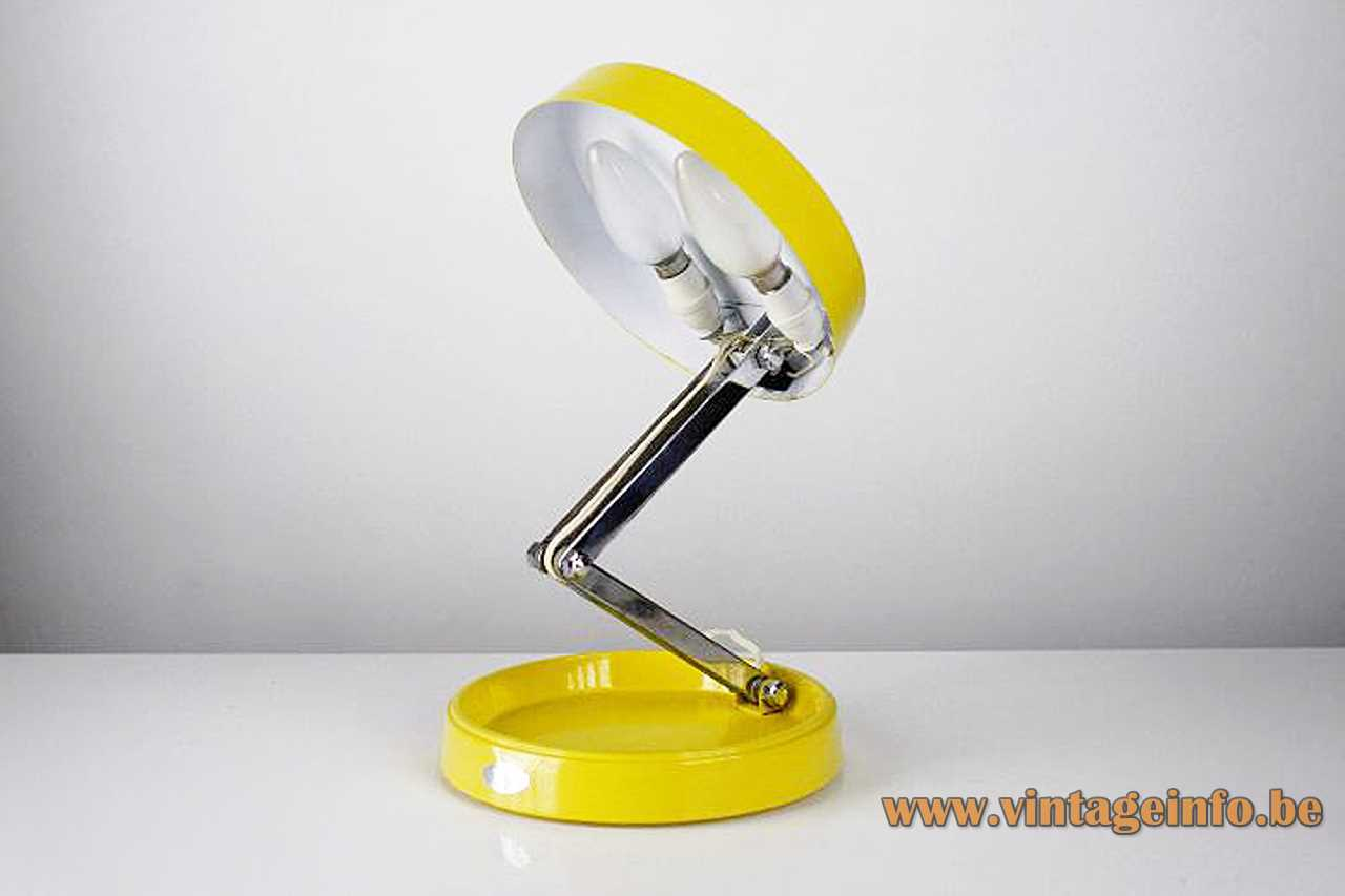 GEI Short foldable table lamp design: Enrique Aparicio yellow round base & lampshade GEI-209 1960s 1970s Spain