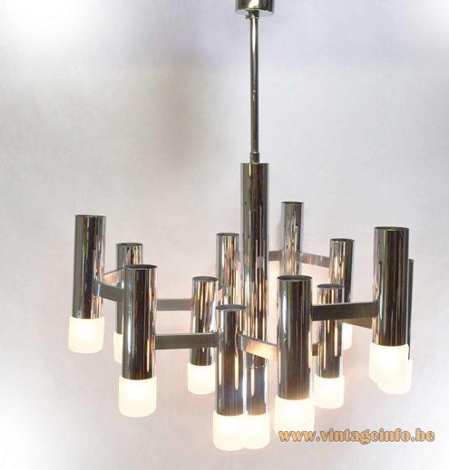 Gaetano Sciolari brass chandelier chrome version 1960s 1970s Boulanger Belgium Neolamp E14 light bulbs