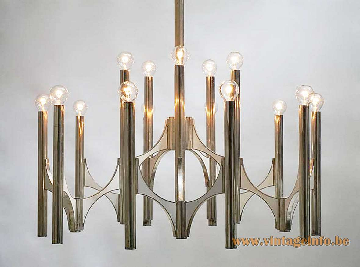 Gaetano Sciolari Orbit chandelier chrome curved metal aluminium rods tubes chain candlestick 1960s 1970s Italy design