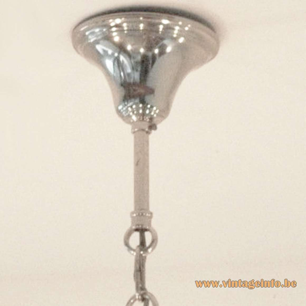 1960s model of the canopy for the Sciolari chandeliers round chrome conical metal