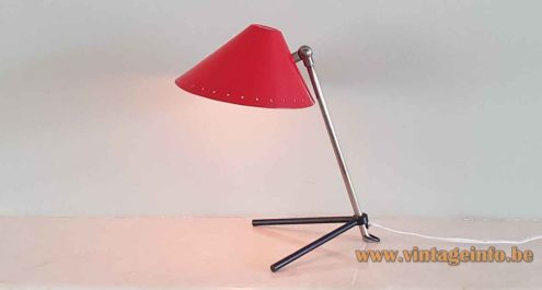 Hala Pinocchio table lamp adjustable tripod rods base conical lampshade perforated round holes 1960s