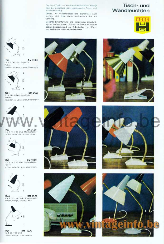 HoSo Stars Desk Lamp - 1964 Catalogue Picture