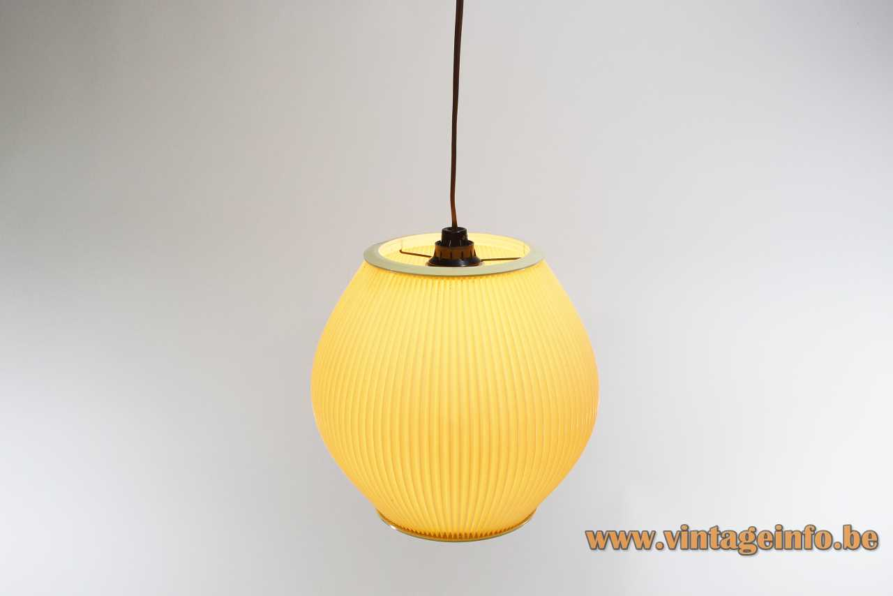 Hoyrup Pearlshade style pendant lamp yellow folded pleated plastic lampshade celluloid Rispal E14 socket