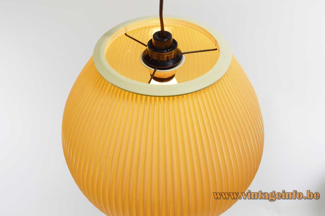 Pendant lamp in folded pleated early plastic probably celluloid Rispal Hoyrop style E14 socket