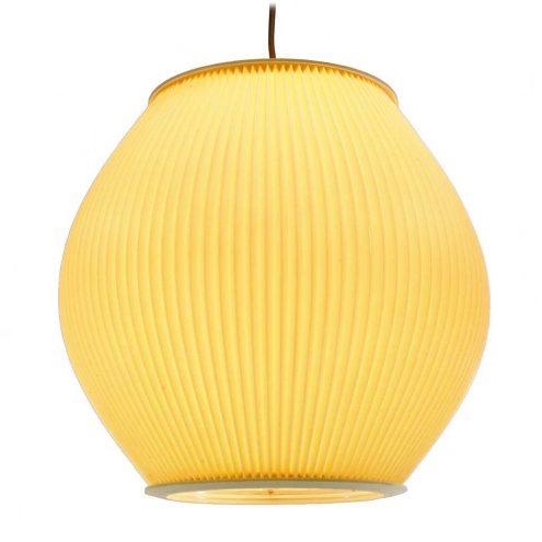 Pendant lamp in folded pleated early plastic probably celluloid Rispal Hoyrop style E14 socket