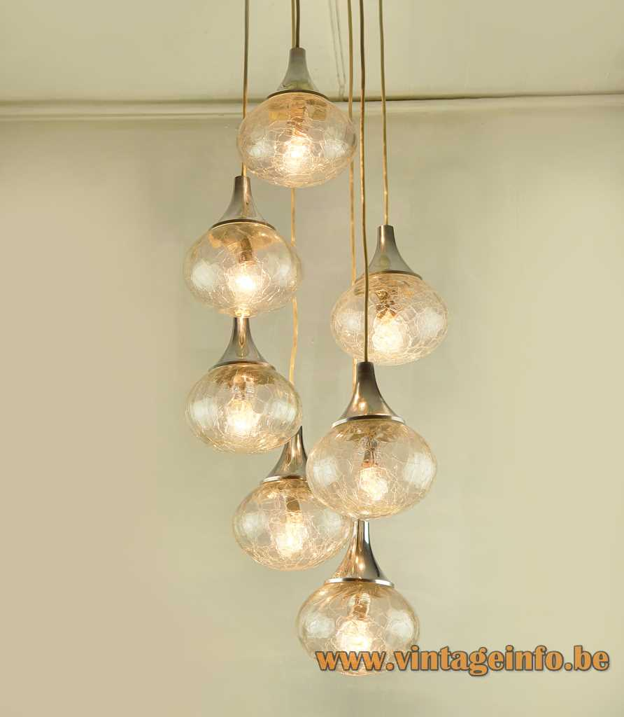 Hustadt crackle glass globes cascade chandelier 7 pendant lamps conical chrome top 1970s Hustadt-Leuchten Germany