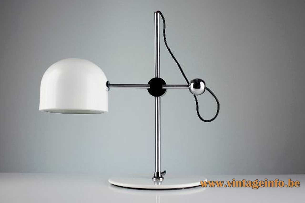 Ignasi Riera Llum desk lamp white round base 2 chrome rods half round lampshade 1970s design Spain