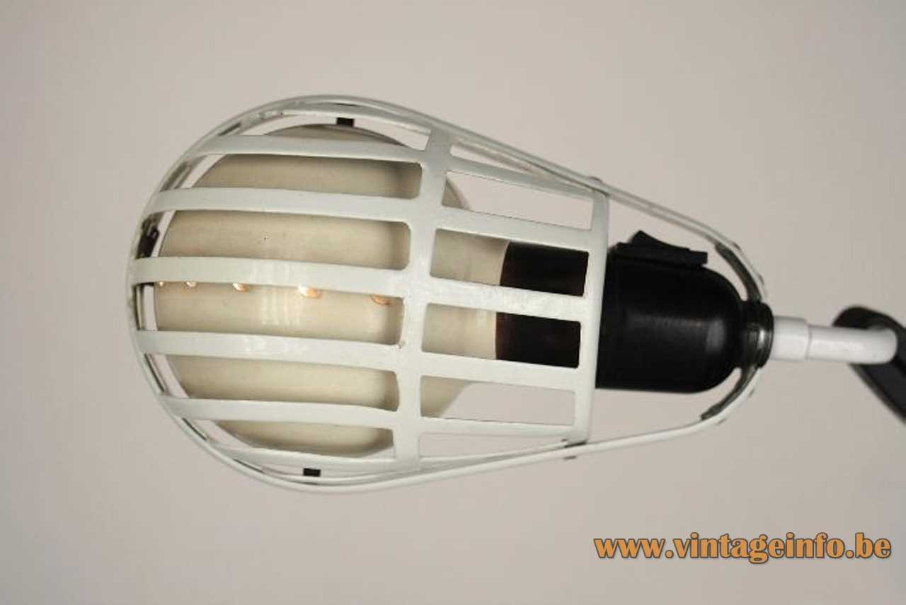 Lumina Igloo clamp lamp design: Tommaso Cimini white grid lampshade E27 socket 1980s Milan Italy