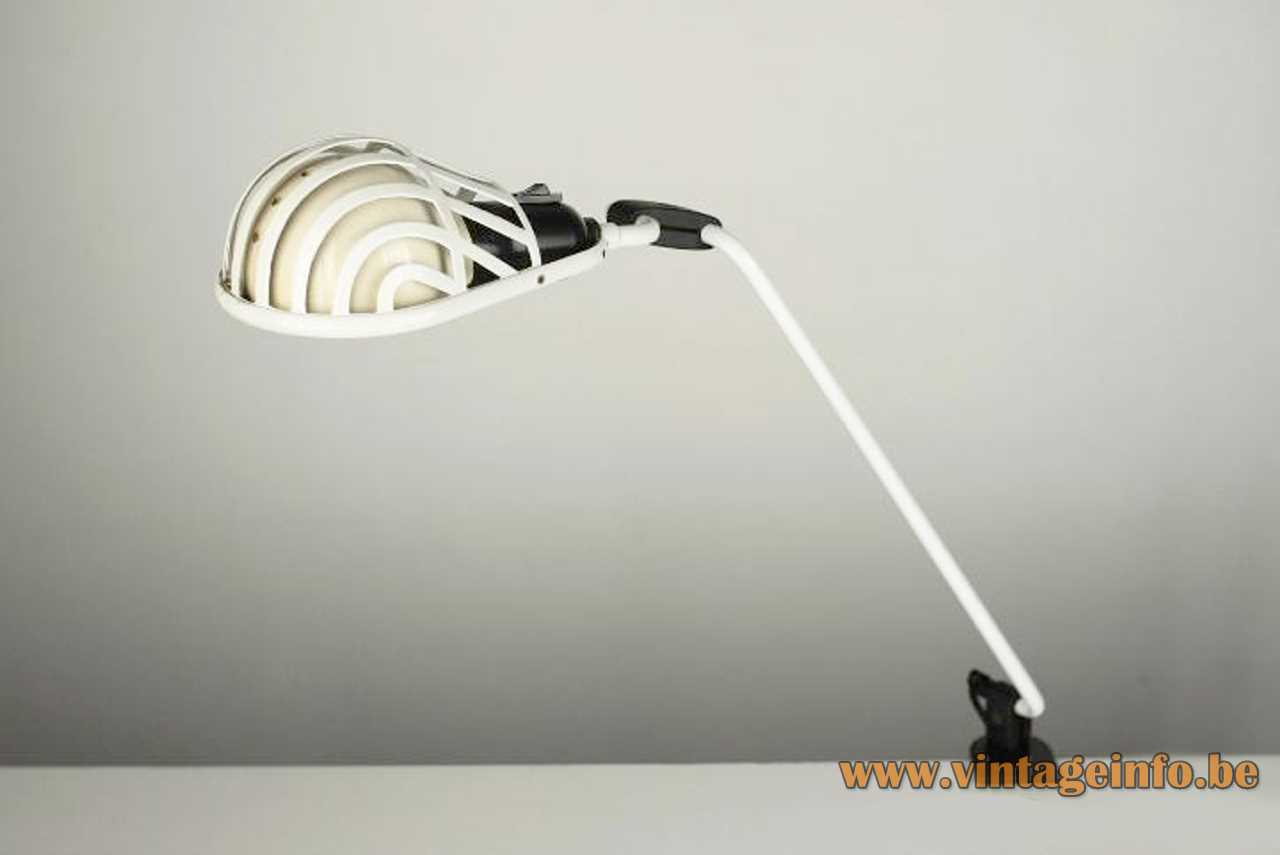 Lumina Igloo clamp lamp design: Tommaso Cimini long metal rod white grid lampshade 1980s Milan Italy