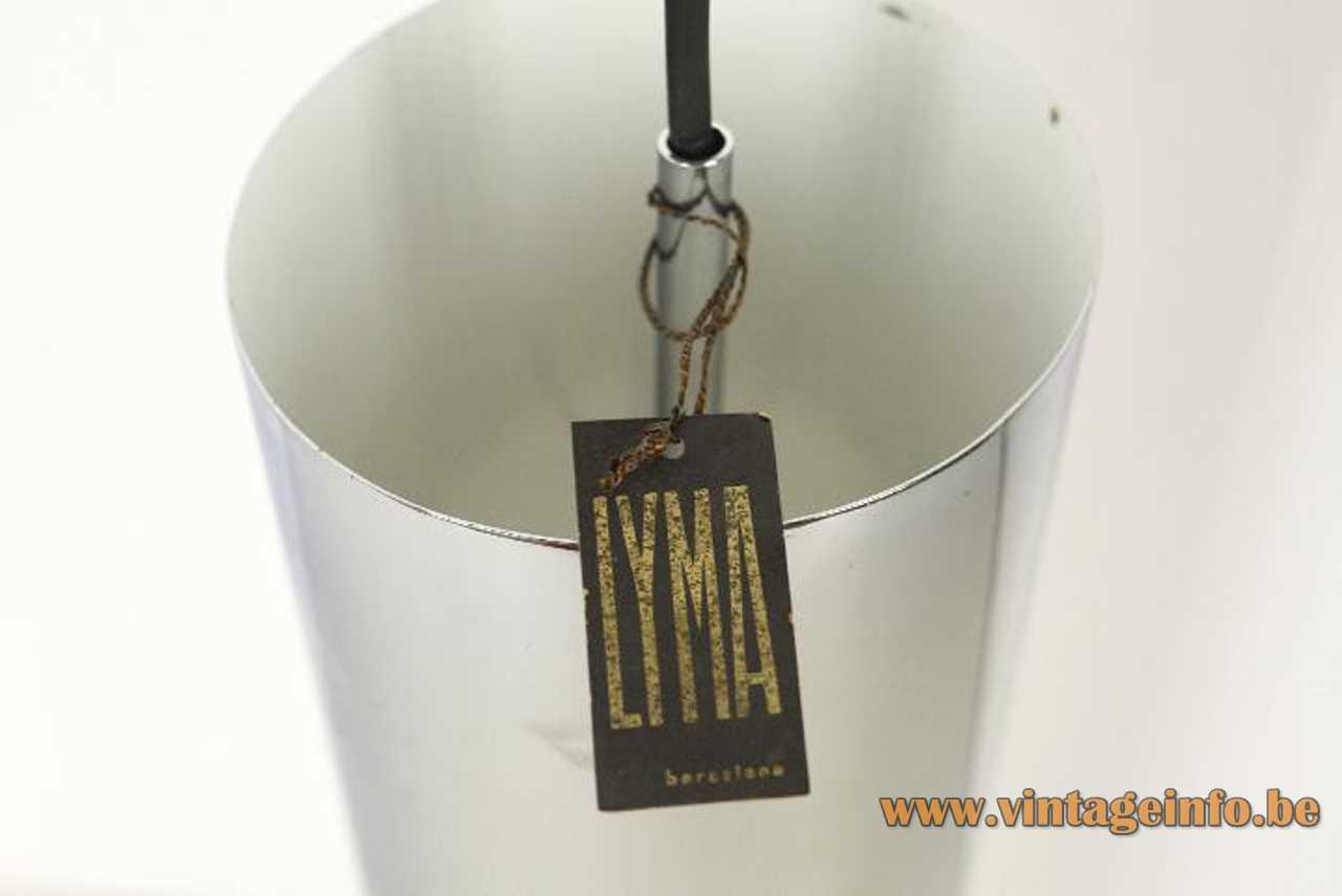 Lyma tubular pendant lamp chrome tube with elongated slots Lyma label 1970s Spain