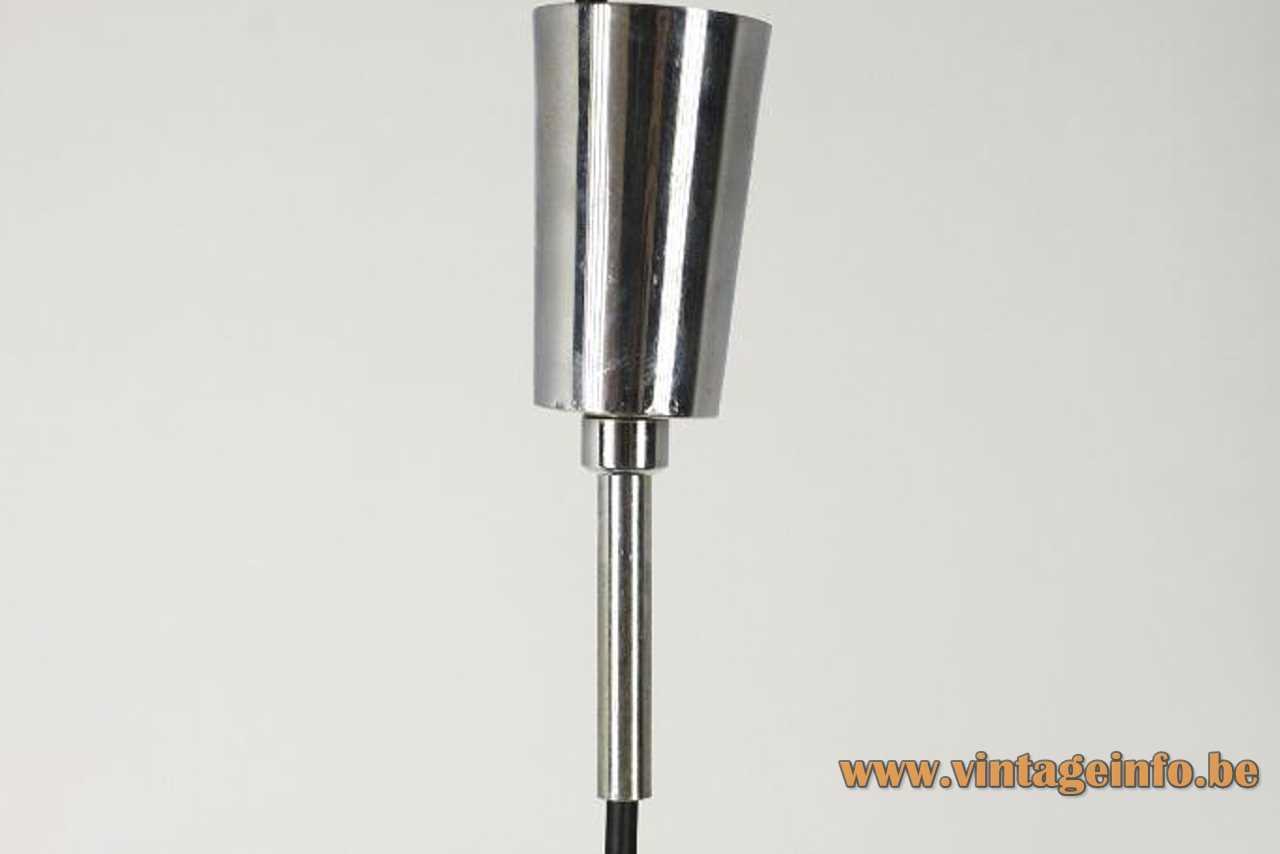 Lyma tubular pendant lamp conical chrome canopy 1970s Spain