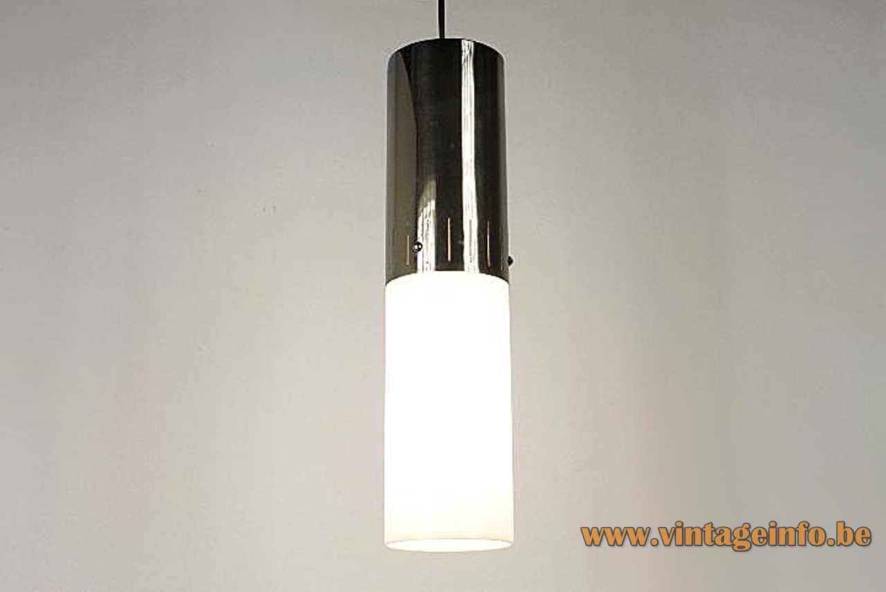 Lyma tubular pendant lamp chrome tube with elongated slots white opal glass lampshade 1970s Spain