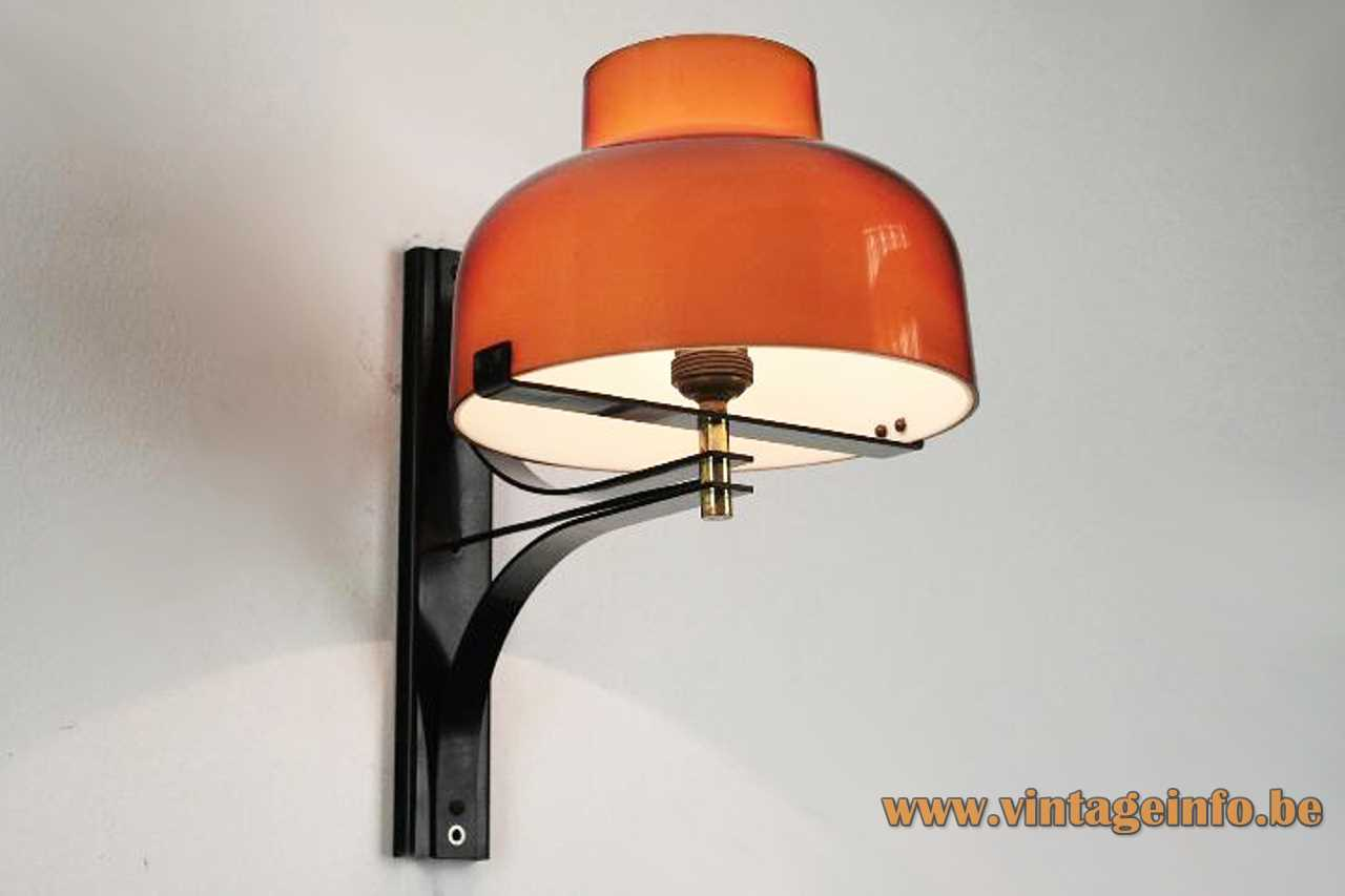 Max Bill Tramo wall lamp design: Miguel Milá brown acrylic lampshade black slats 1960s Tramo Spain