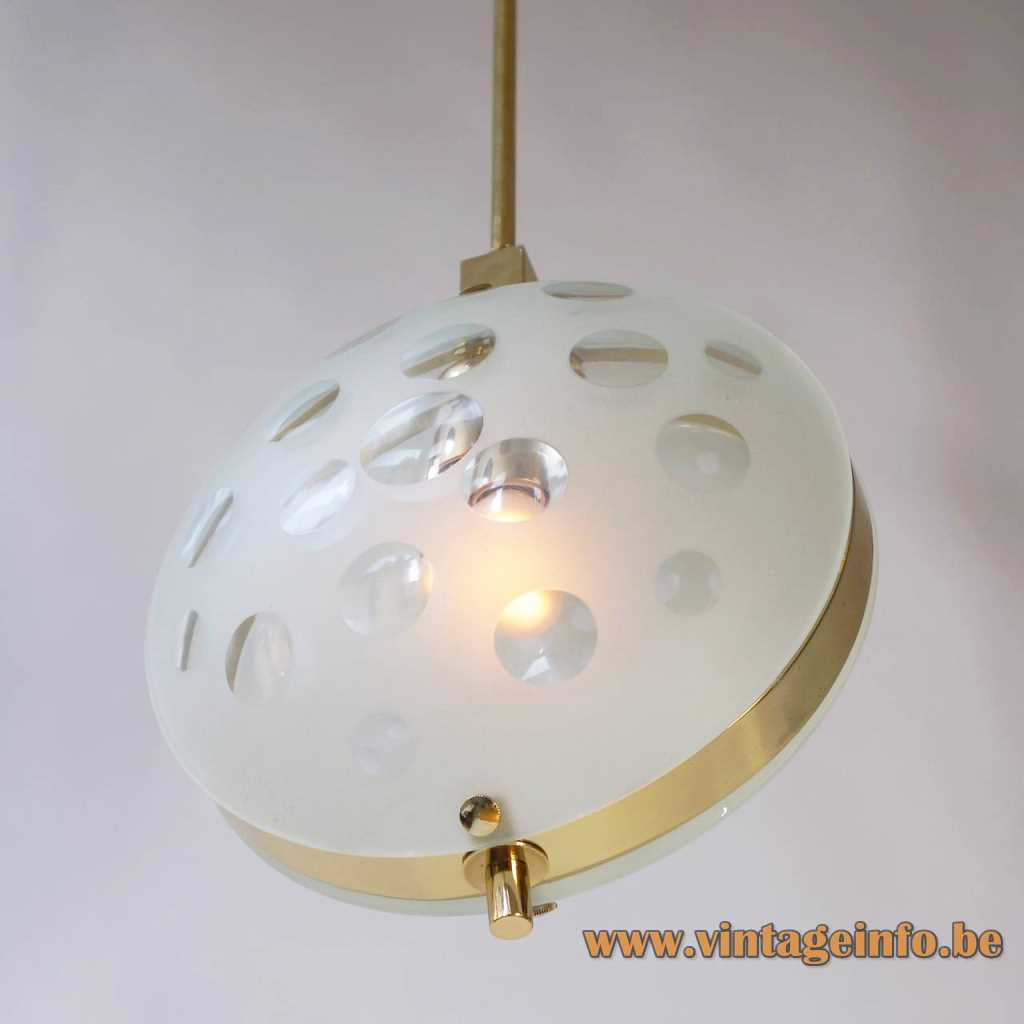 Max Ingrand style pendant lamp brass ring & rod 2 mat glass discs with cut circles 1990s
