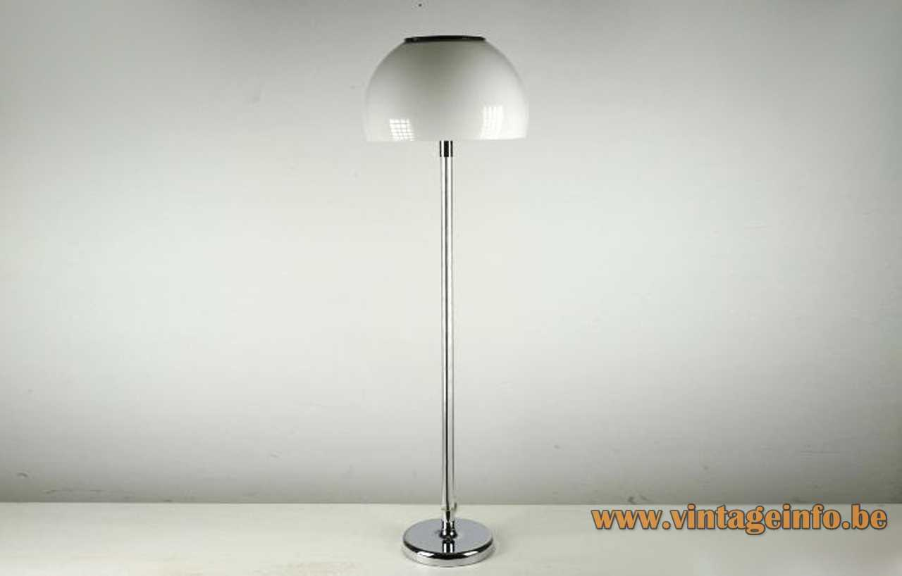Metalarte acrylic floor lamp chrome base clear Lucite rod white lampshade 1970s 2 E27 sockets Spain