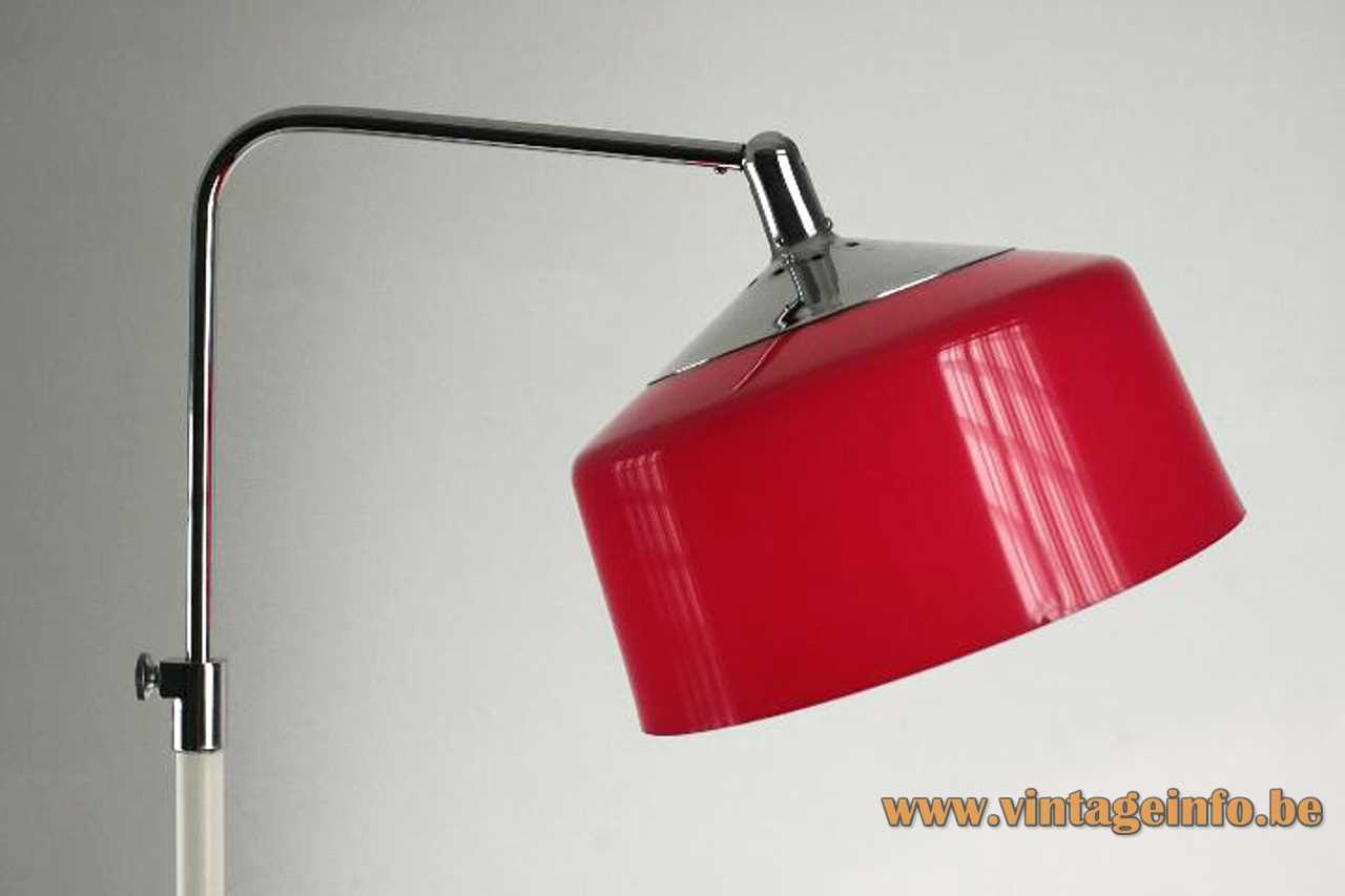 White painted metal floor lamp with a red acrylic lampshade and an adjustable chrome rod E27 socket