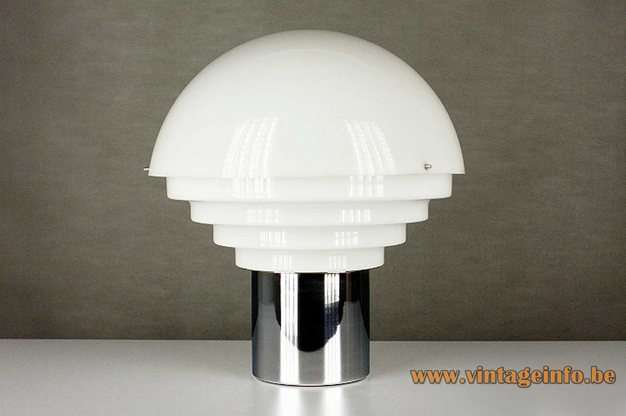 Metalarte acrylic table lamp chrome round base layered white plastic Perspex lampshade 1960s 1970s Barcelona Spain