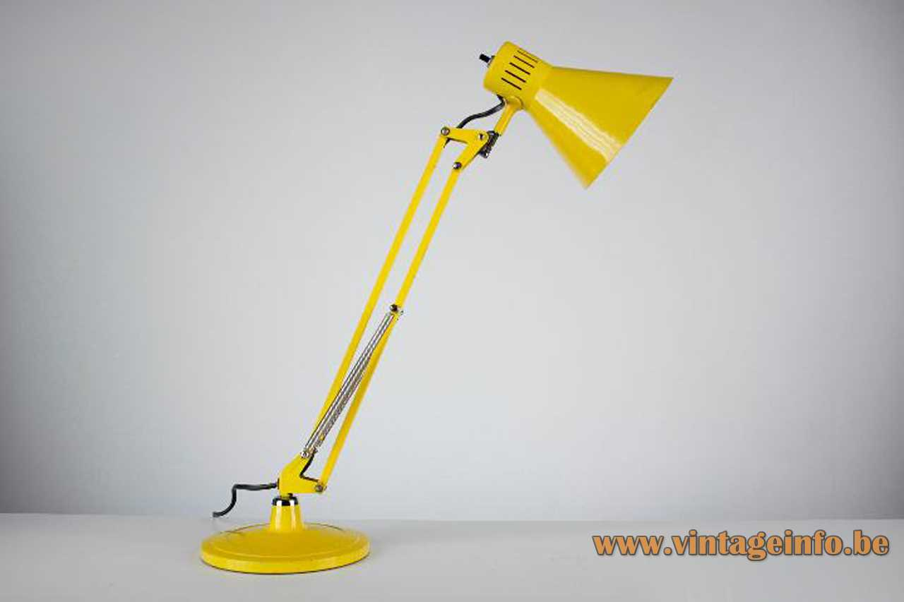 Metalarte architect desk lamp yellow round base & lampshade foldable rods chrome springs conical lampshade 1960s Spain