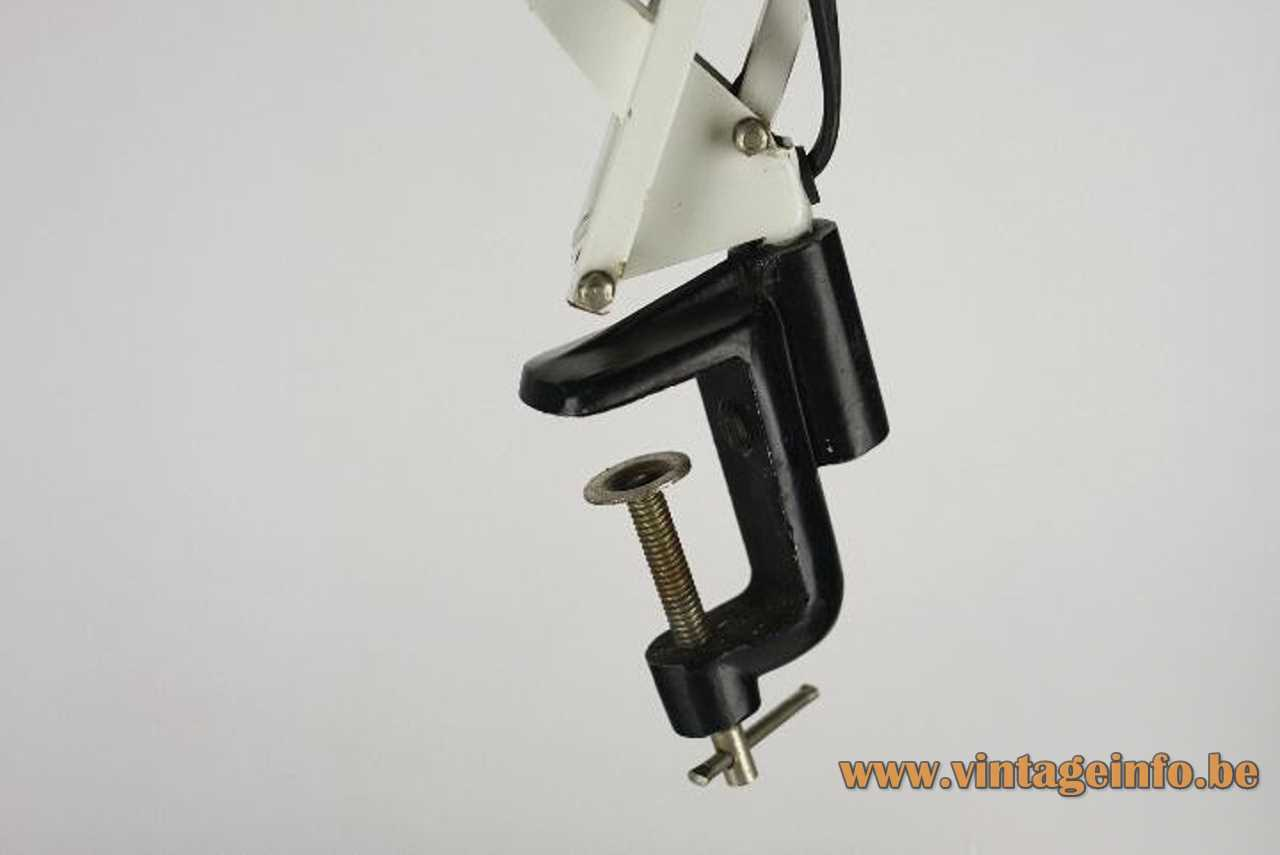 Metalarte Arma architect clamp lamp white metal square rods 4 springs round lampshade 1970s Spain