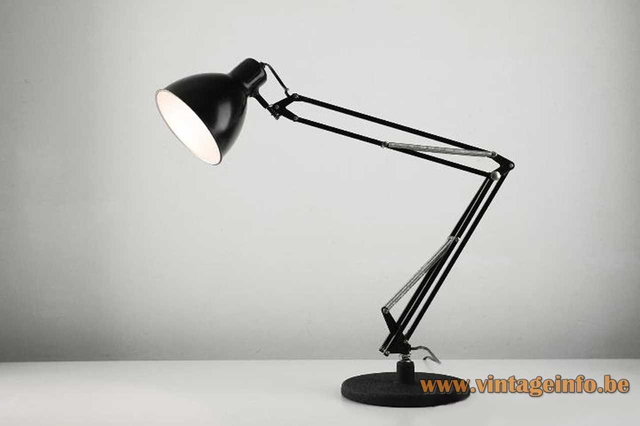 Metalarte Arma architect lamp black cast iron base square rods 4 springs round lampshade 1970s Spain