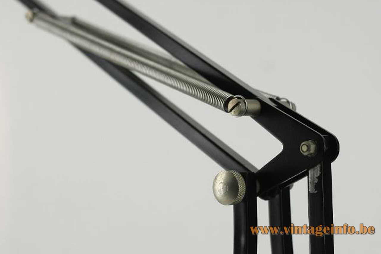 Metalarte Arma architect lamp black cast iron base square rods 4 springs round lampshade 1970s Spain