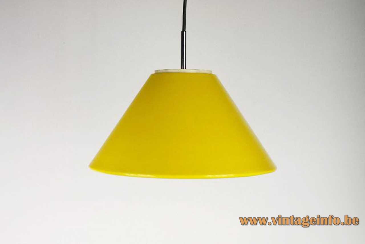 Metalarte conical pendant lamp yellow metal lampshade white plastic acrylic diffuser chrome rod 1970s Spain