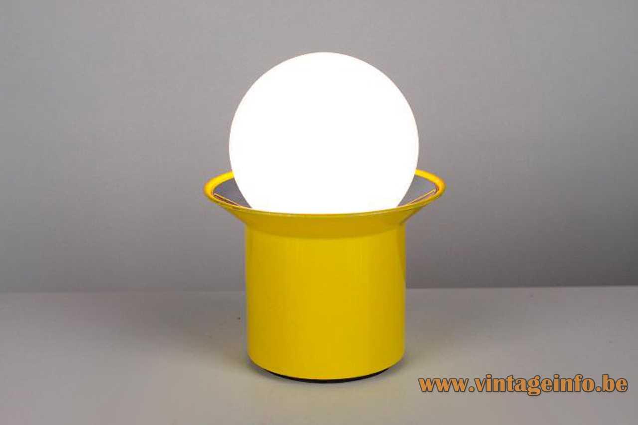 Metalarte table lamp yellow round base opal glass globe Barcelona Spain 1960s 1970s MCM Mid-Century Modern