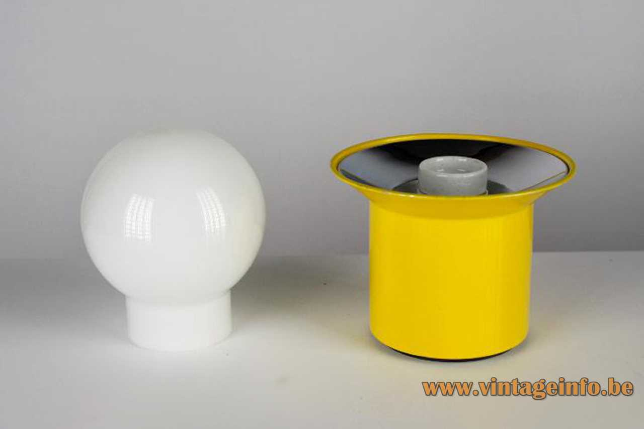 Metalarte globe table lamp yellow round base opal glass sphere lampshade 1960s 1970s Barcelona Spain