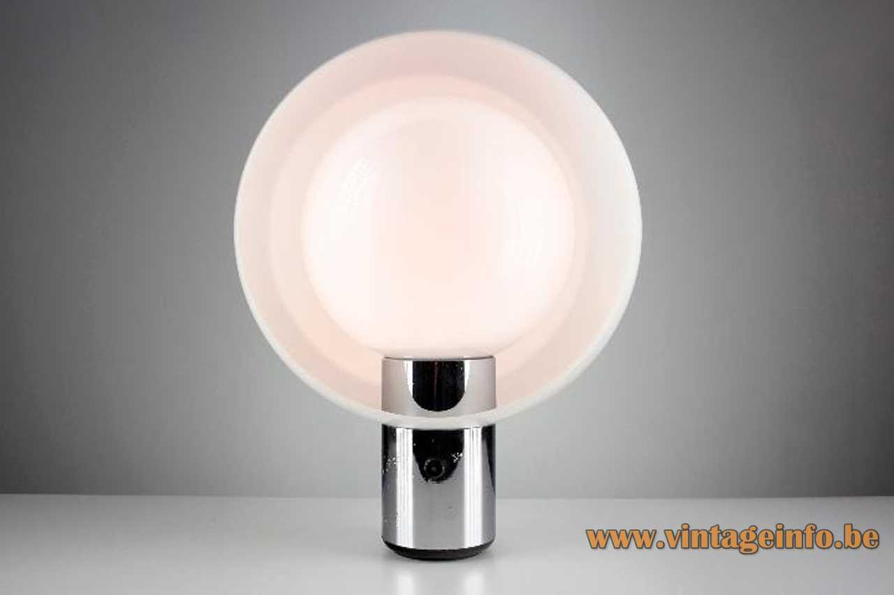 Metalarte Moon table lamp chrome tube 2 white acrylic round eclipse lampshades dimmer 1970s Spain