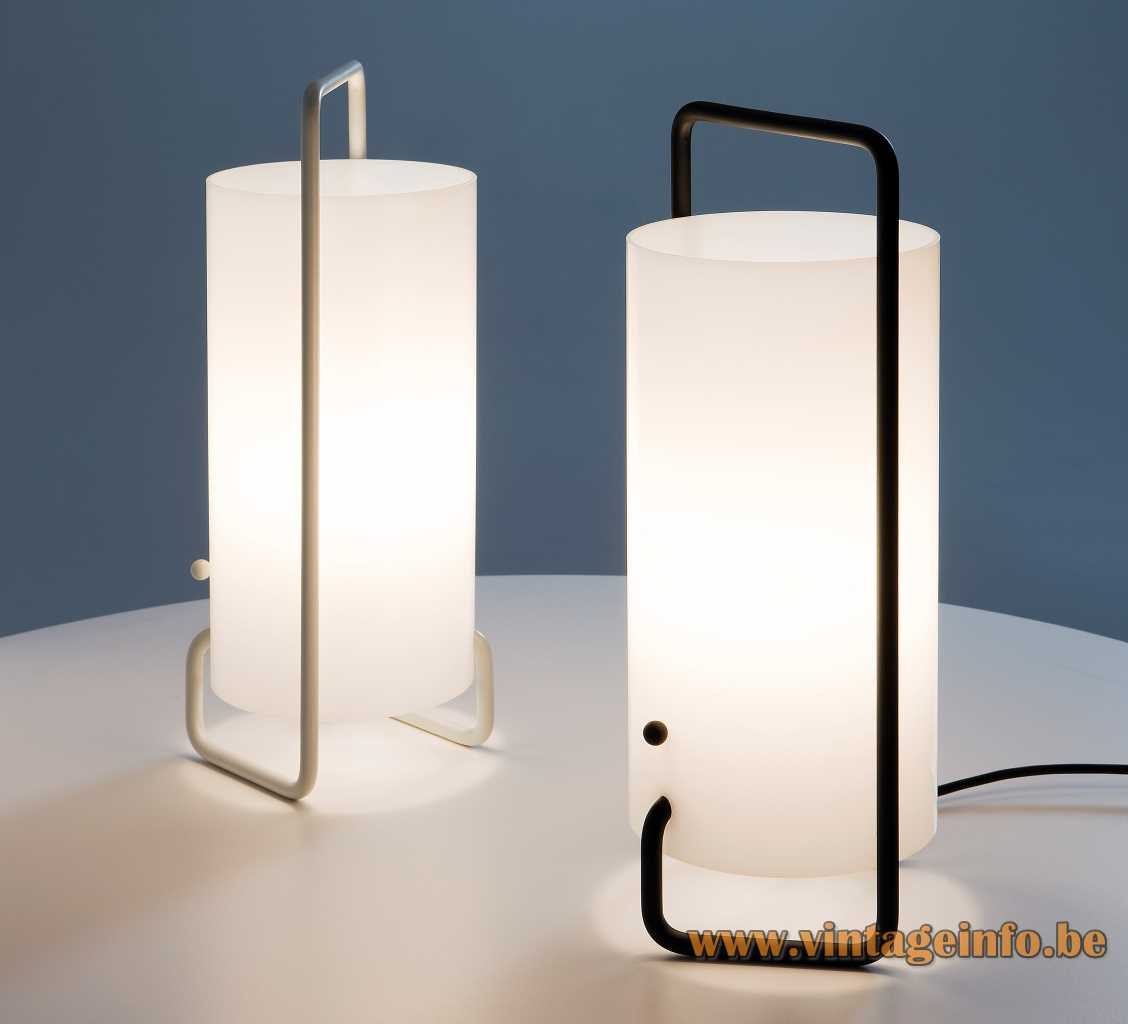 Table lamps made of a folded iron rod with a white acrylic tube for the lampshade