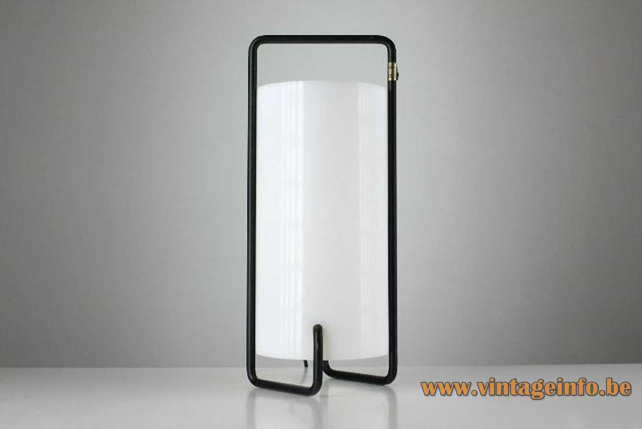 Miguel Milá Asa table lamp 1961 design folded black iron rod white acrylic tubular lampshade Spain