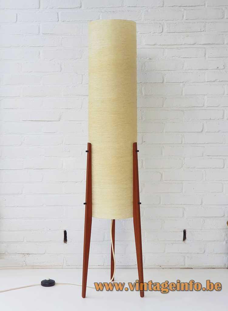 Novoplast tripod rocket floor lamp yellow fibreglass tube 3 conical teak legs 1950s 1960s Czech Republic