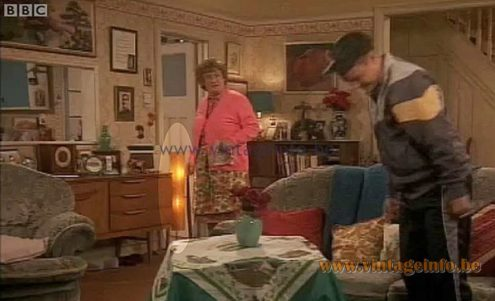 Novoplast tripod rocket floor lamp used as a prop in the Mrs. Brown's Boys BBC tv series