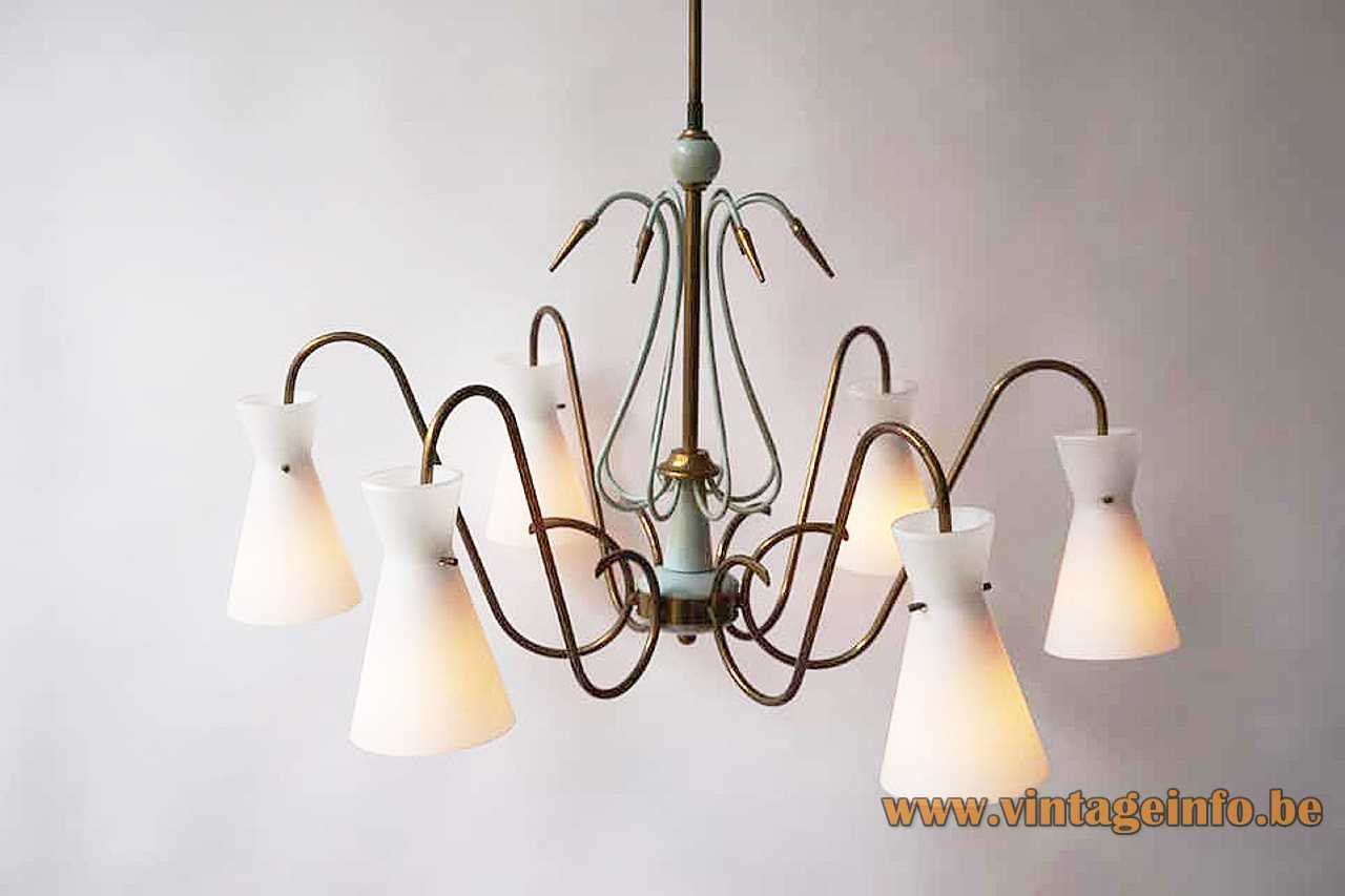 Opal glass diabolo chandelier curved brass rods & arrows 6 white lampshades 1950s 1960s Massive Belgium