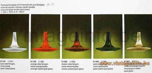 Peill + Putzler UFO pendant lamp catalogue picture - Models AH 11, AH 12, AH 13, AH 14, AH 15