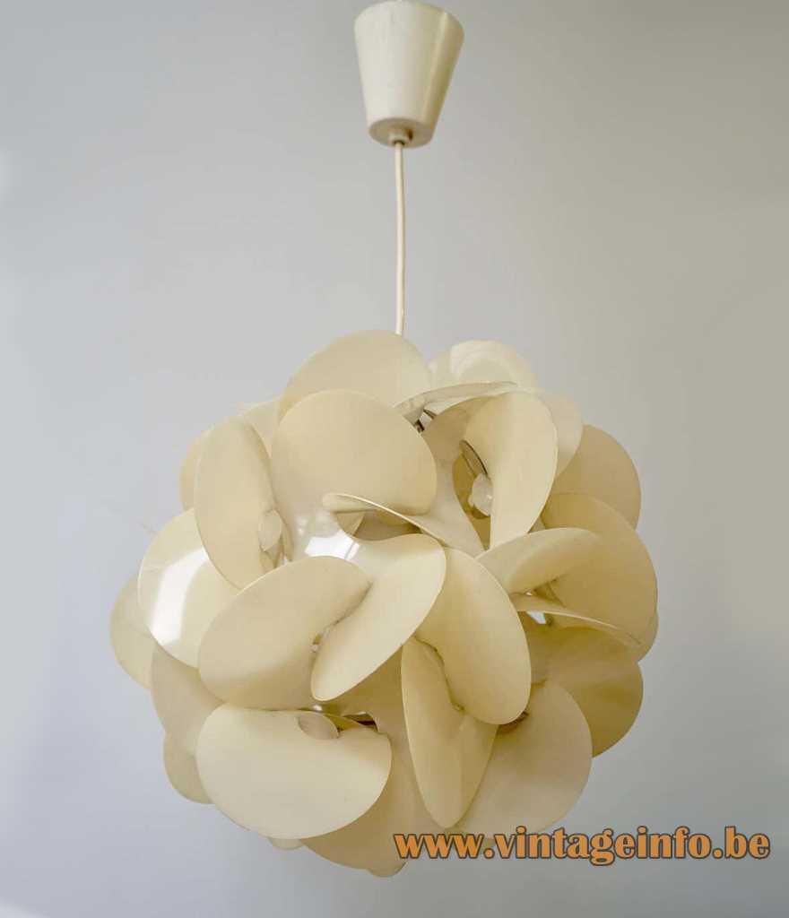 aoul Raba pendant lamp Rose Des Sables desert rose 1968 design plastic flower globe 1960s 1970s