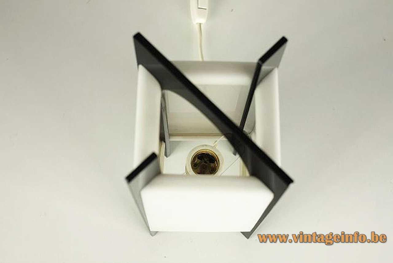 Square acrylic Tramo table lamp 4 black flat slats legs white Perspex lampshade 1970s Spain