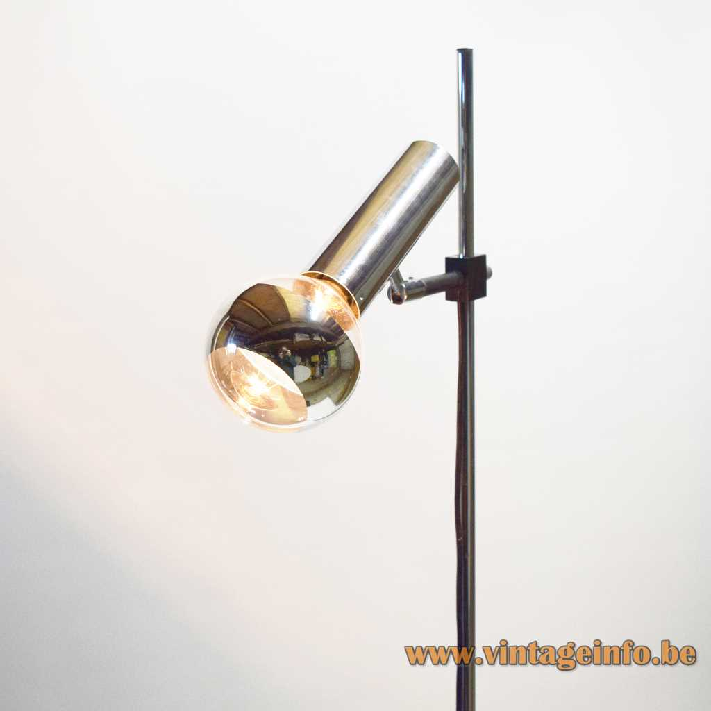 Staff chrome tube floor lamp 1971 design round chrome base long rod tubular lampshade 1970s Germany