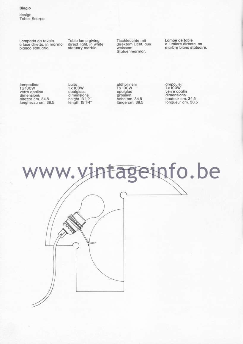 Tobia Scarpa Biagio Table Lamp - 1980 Flos Catalogue Pïcture - Data, Dimensions
